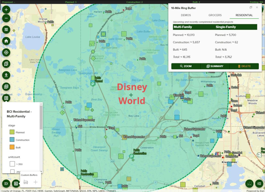 10-mile radius around Disney World from Planned Grocery